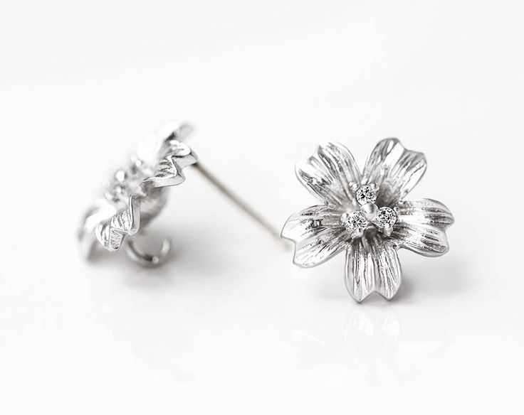 2623_ Silver flower studs 12 mm, CZ studs, Earring posts, Clip on earrings, Earring studs, Silver post earrings, Earring findings_1 pair. by PurrrMurrr on Etsy