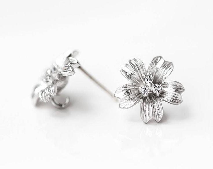 2623_ Silver flower studs 12 mm, CZ studs, Earring posts, Clip on earrings, Earring studs, Silver post earrings, Earring findings_1 pair. by PurrrMurrr on Etsy