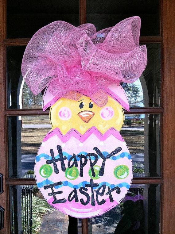 CuteDoors Decor, Doors Hangers, Easter Chicks, Easter Crafts, Burlap Doors, Front Doors, Bronwyn Hanahan, Chicks Doors, Sweets Chicks