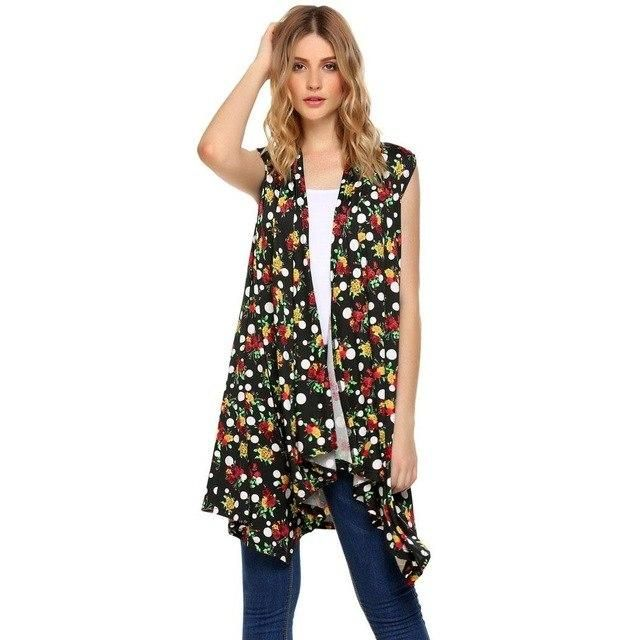 Women'S Long Cardigan Open Front Asymmetrical Sleeveless Floral Draped Autumn Casual Above Knee Thin Ladies Sweaters Black XXL