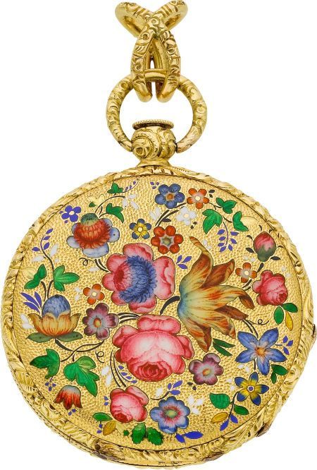 Moilliet Geneva Enamel  18k Gold Pendant Watch, circa 1860