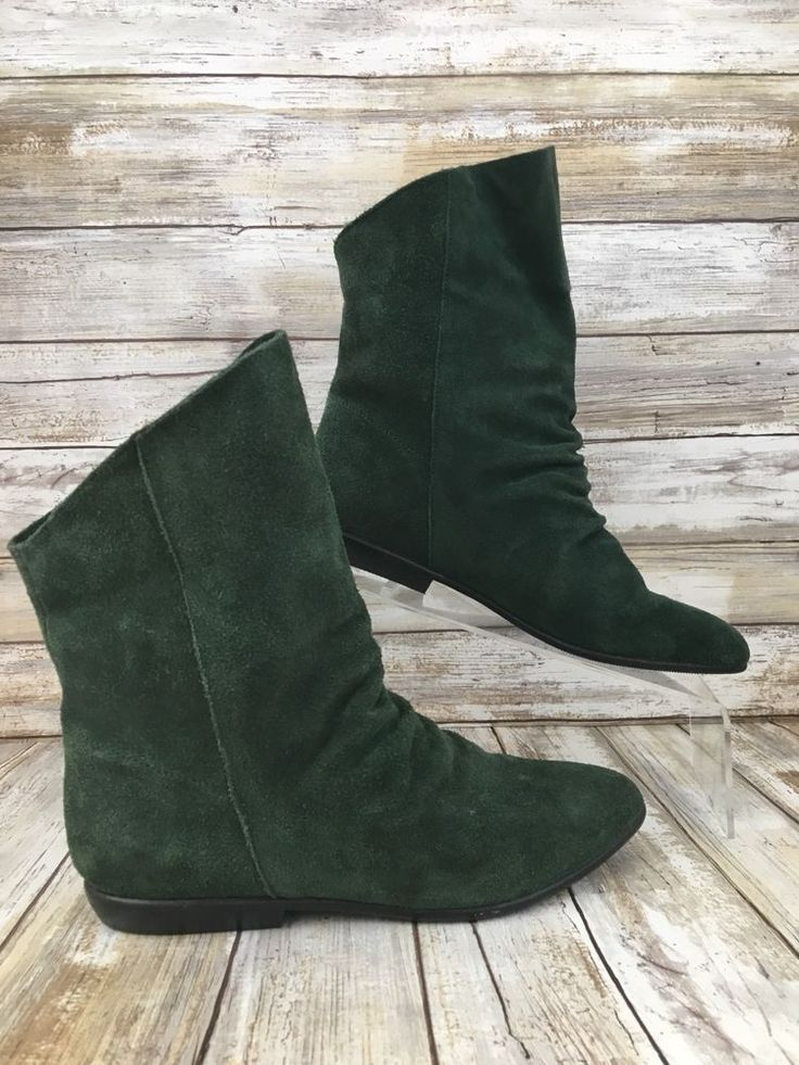 Sandra Miller Women 6.5M Merna Green Suede Pointed Toe Pull On Slouch Ankle Boot #SandraMiller #AnkleBoots