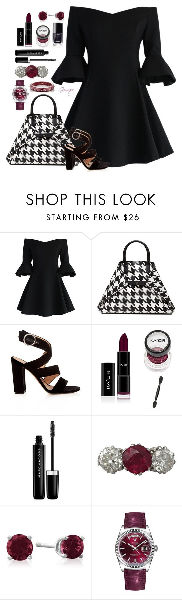 """Untitled #2102"" by gemique ❤ liked on Polyvore featuring Chicwish, Akris, Gianvito Rossi, Marc Jacobs, Trilogy, Rolex and Mark Davis"