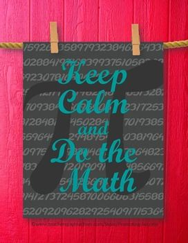 Poster Keep Calm and Teach Math Teal And Gray Pi Teacher Printable