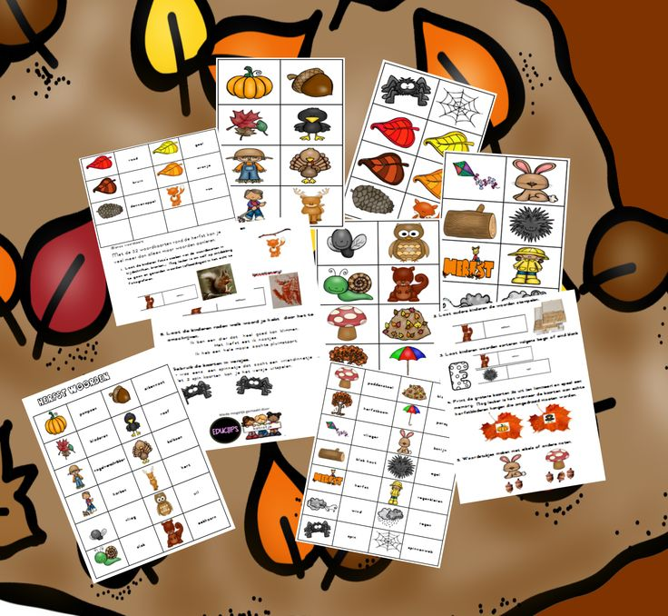 woordkaarten rond de herfst van katrotje