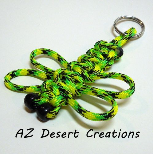 Zombie Green Dragonfly Paracord Key Chain 550 Military Grade Paracord   DesertCreations - Accessories on ArtFire