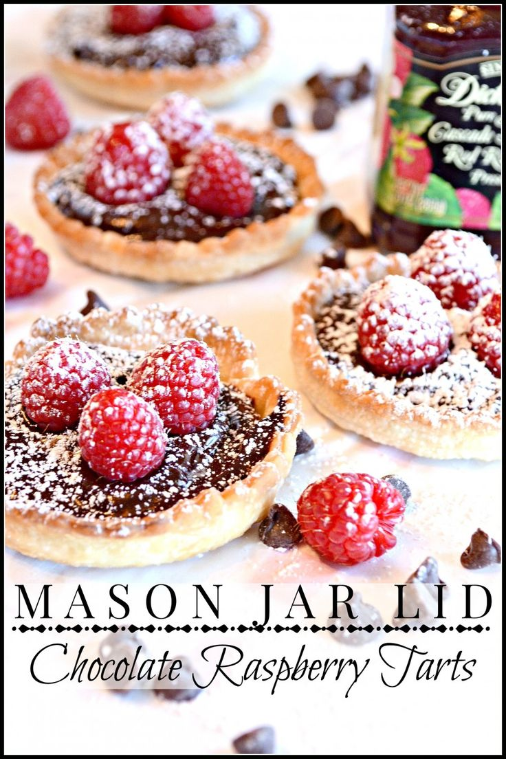MASON JAR LID CHOCOLATE RASPBERRY TARTS you will love this recipe-so easy to make and so impressive