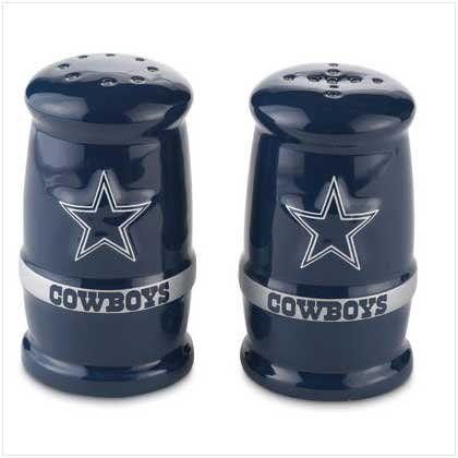 Dallas Cowboys BARREL SALT & PEPPER SHAKERS NFL Team Home Gifts & Decor . $18.00. Brand New, still in packaging porcelain Salt & Pepper Shakers. Show your team spirit at every meal with these heavy duty shakers! Image is raised, 3-D off of shaker!