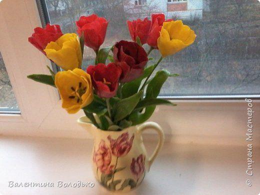 Декор предметов Флористика искусственная День рождения Декупаж Лепка Тюльпаны+самодельные молды Салфетки Фарфор холодный фото 1