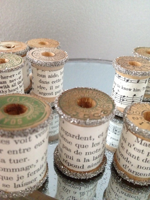 Vintage Wooden Spools French Music Set 3 Crafts Silver Glitter Ornaments | eBay
