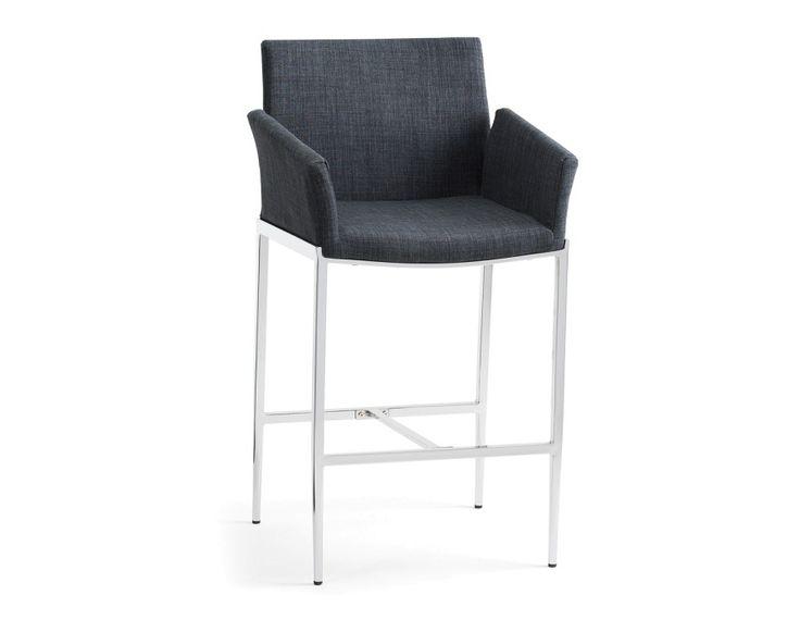 EDISON - Microfiber counter stool 26'' - Grey
