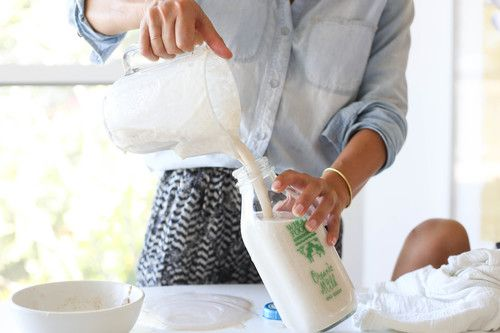 Homemade almond milk recipe.  Simple and so easy to make that you will never buy the boxed kind again.  Only 5 ingredients.  Full how to on Home With Her www.homewithher.com #healthy