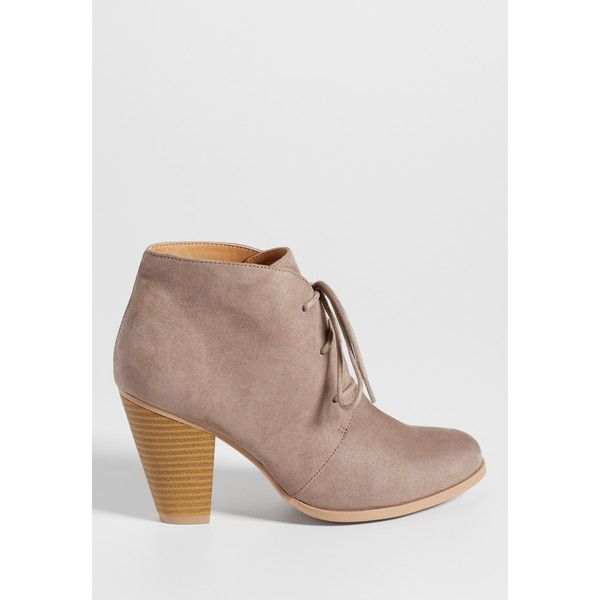 maurices Daphne Faux Suede Heeled Ankle Bootie (517.625 IDR) ❤ liked on Polyvore featuring shoes, boots, ankle booties, faux suede boots, ankle boots, maurices boots, faux suede ankle boots and synthetic boots