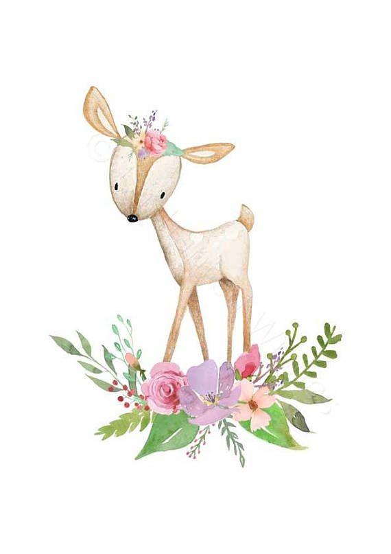 Woodland pépinière Decor estampes ensemble – imprimés Woodland Un magnifique ensemble de 4 gravures, de peintures originales d'aquarelle de bois bébé mignon / animaux de la forêt. Y compris un raton laveur, le lapin, le cerf et le renard. Agrémentée de fleurs et de feuilles. Ces