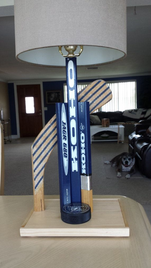 Hockey Decor Hockey Stick Lamp Sports Lamp by SaultydogCreations, $110.00. Office lamp Could probably make something like this...