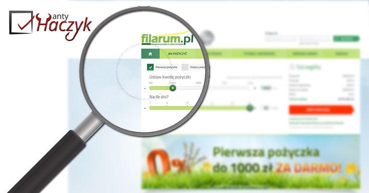 Analiza ostatnio intensywnie reklamowanej w telewizji  pierwszej darmowej pożyczki w Filarum.pl https://antyranking.blogspot.com/2016/06/filarumpl-sohocredit-opinie-o-pierwszej.html Filarum należy do firmy Rapid Finance, która posiada również inne marki i platformy oferujące pierwszą pożyczkę gratis, ale można z niej skorzystać tylko raz bez względu, z której z marek należących do Rapid Finance skorzystamy.