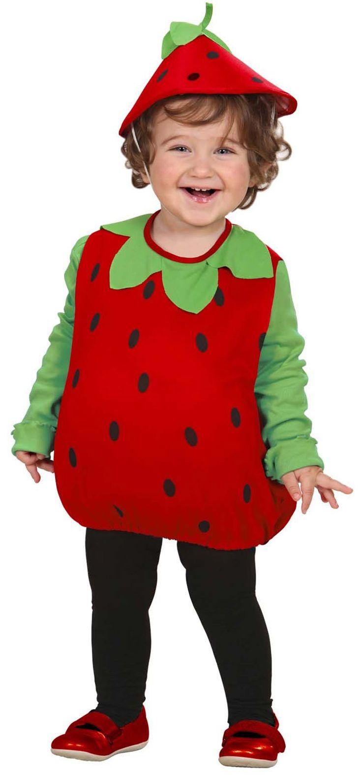 Déguisement fraise fille : Ce costume de fraise pour fille est composé d'une combinaison et d'une coiffe (collant et chaussures et tee-shirt non inclus). La combinaison est de couleur rouge à pois noir...