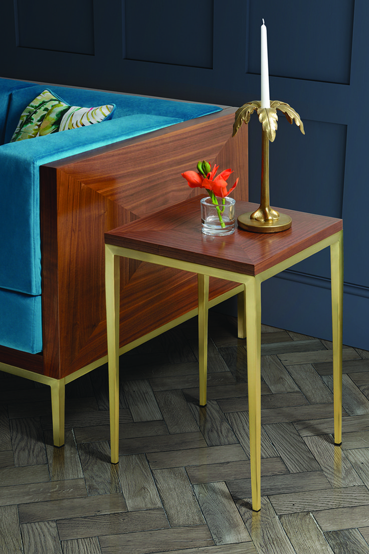 Ravello side table - walnut and brass