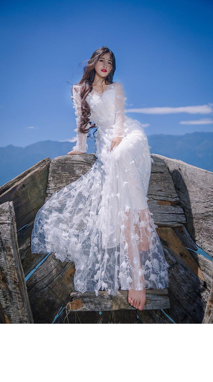 Новинка 2017 женские весенние платье кружевные цветы Тонкий О образным вырезом Длинные рукава ТРАПЕЦИЕВИДНОЕ пляжное платье в богемном стиле сладкий маленький размер парадный вечерний костюм женский купить на AliExpress