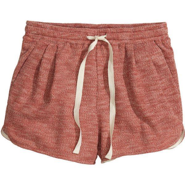 H&M Short sweatshirt shorts ($11) ❤ liked on Polyvore featuring shorts, bottoms, pajamas, short, brick red, hot pants, mini shorts, micro shorts, short shorts and h&m shorts