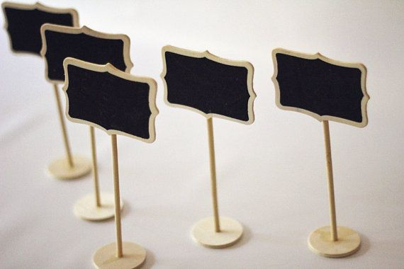 Set of 5  - Mini Chalkboard Stands - Chabby Chic - Table Numbers - Name Tags - Black tags - Wedding Signage -  Buffet Props -  Settings on Etsy, $13.50