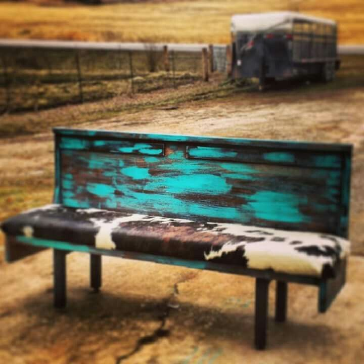 Awesome cowhide bench if you swapped out the hide with a faux textile.  Nice DIY wooden palette project. - Eve.