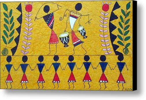 Colorful Warli Happy Celebration Canvas Print / Canvas Art By R J