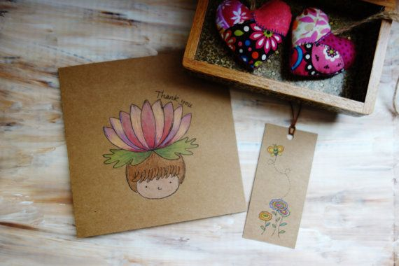 Lotus Flower Thank You Card. Hand Drawn Card. by NariDesignPot