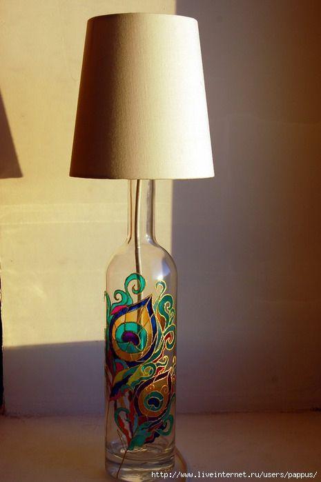 Wine Bottle Lamp Peacock