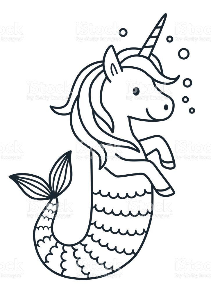 Cute Unicorn Mermaid Vector Coloring Page Cartoon Illustration