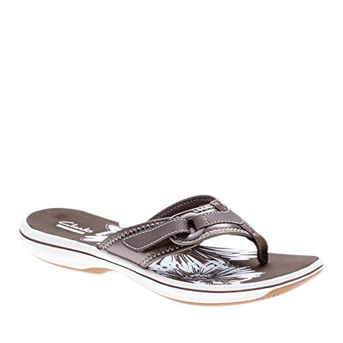 Clarks Breeze Mila Womens Pewter Sandal 11-MEDIUM CLARKS I absolutely LOVE Clarks Breeze flip flops. The reason I say they're somewhat large and wide is that I usually wear a 7W but 7B fits fine. Also, they are adjustable, but I don't need to adjust them. Also, they do have some arch support, but I don't buy them for that. I have Clarks Breeze of different types (these are Mila) in Coral, Teal, Greystone, and now Navy. They are so comfortable that I wore them to walk everywhere on our…