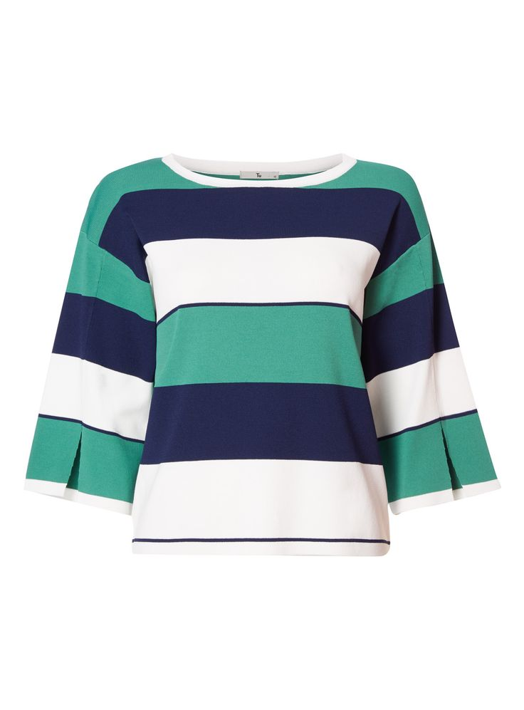 Refine your knitwear with this chic stripe tee, crafted with a stylish split sleeve. Wear yours with slim fit trousers and leather boots for autumn days. MultiColoured stripe tee Stripe pattern Split sleeve Model's height is 5'11'' Model wears a size 12
