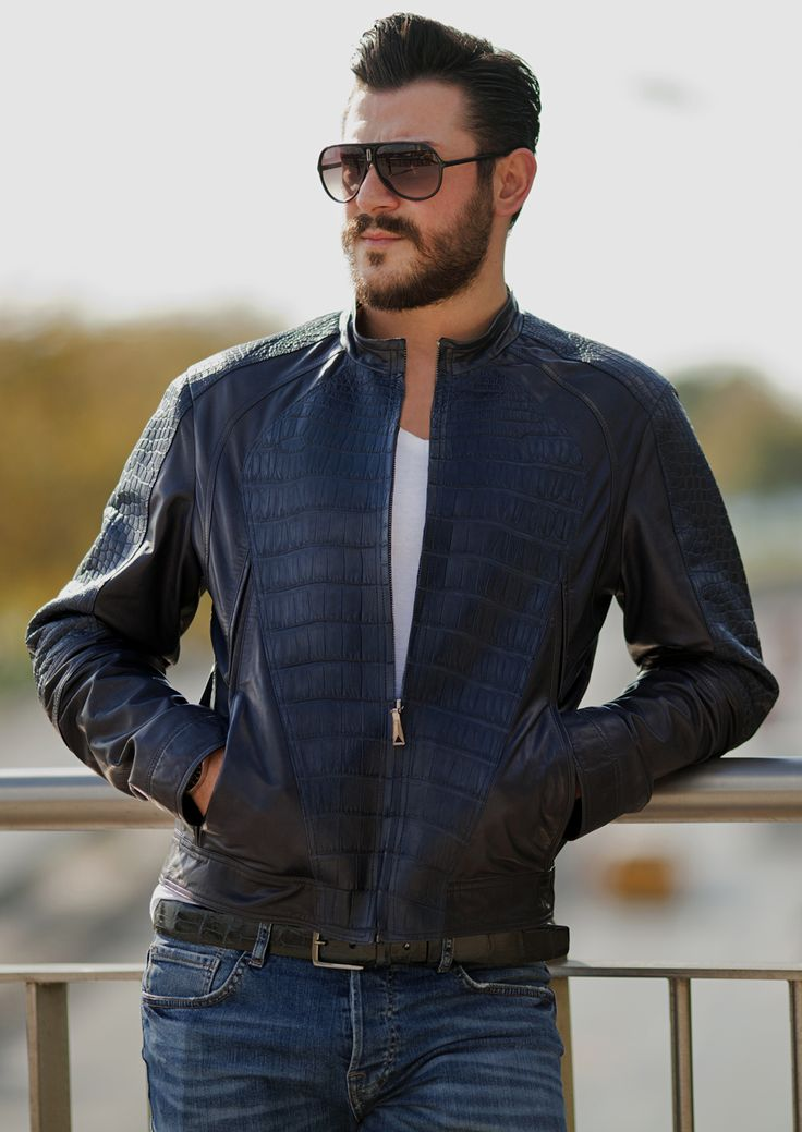 Men's blue croc leather jacket by #ADAMOFUR #menstyle #mjensfashion #style #inspiration #look #ootd #leatherjacket #cool #amazing
