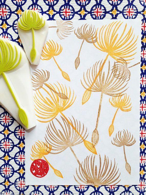dandelion rubber stamp set. dandelion seeds. hand carved stamp. hand carved rubber stamps. nature stamp. diy projects. large/small/ set of 2...