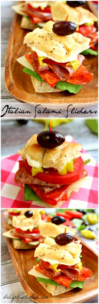 Loaded with savory, peppery salami and pepperoni, fresh veggies and stacked between focaccia bread, these mini sandwiches are AMAZING! #slider #sandwich #Italian