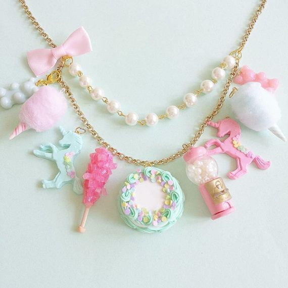 Pastel Statement Necklace Mint Blue and Pink by FatallyFeminine