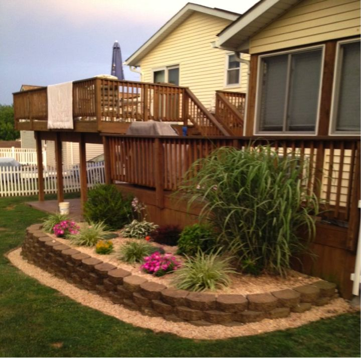 Mulch landscaping idea for back porch mulch brick for Stone landscaping ideas