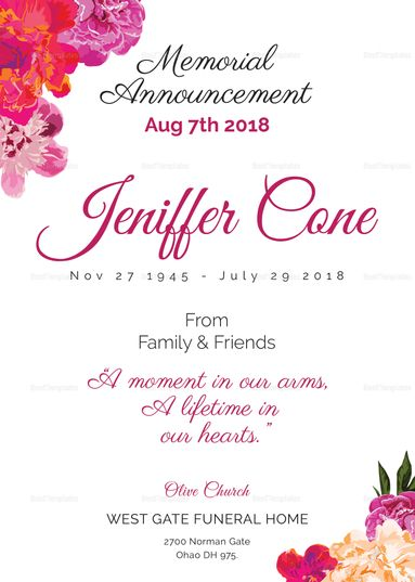 Funeral Invitation Design  Invitation For Funeral
