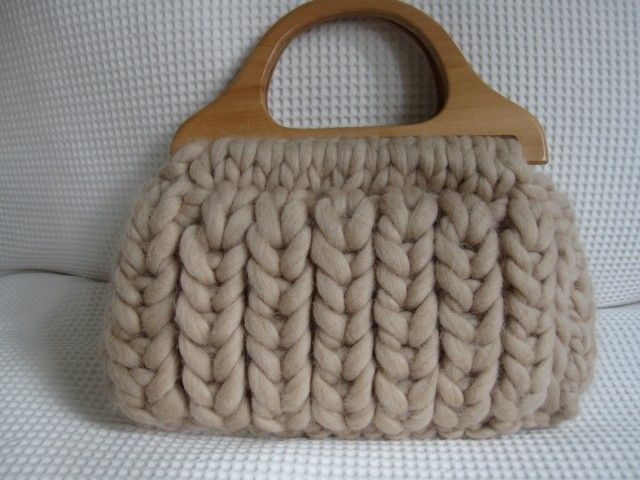Chunky Hand Knitted Bag.