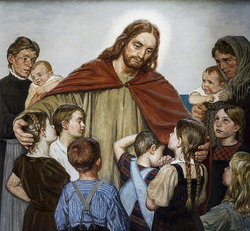 Harboøre kirke, alterbillede af Axel Hou 'Kristus tager børnene i favn' 1910  7699306458_6f2c694c85.jpg (500×462)