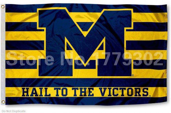University of Michigan Flag NCAA Big Ten Conference 3ft x 5ft Polyester Banner Flying 150* 90cm Custom flag sport helmet
