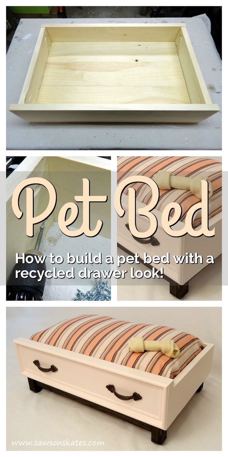 "Love those ideas for recycled drawers into pet beds? Check out this dog bed DIY plan that shows how to build a ""drawer"" using new wood with an upcycled look! The tutorial is easy to follow and it's simple to make. The bed is actually an inexpensive standa"