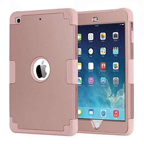 iPad mini CaseiPad mini 2 CaseiPad mini 3 CaseiPad mini Retina CaseBENTOBEN Anti-slip Shock-Absorption Silicone High Impact Resistant Hybrid Three Layer Armor Protective Case Cover Rose gold