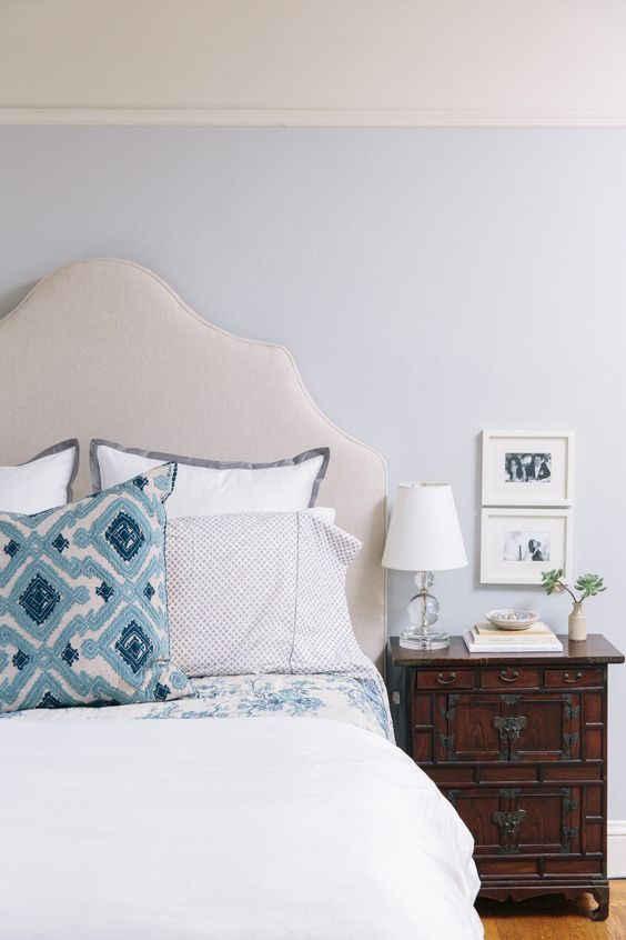 Pretty blue throw pillow: http://www.stylemepretty.com/living/2014/02/24/10-stunning-bedrooms/