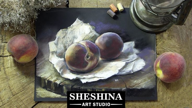 How to draw peaches with soft pastels  🎨 Sheshina Ekaterina