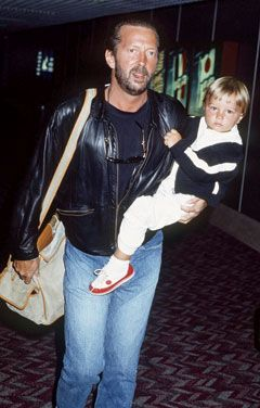 Conor Clapton Death | Eric Clapton with his son, Conor, at London's Heathrow Airport on ...