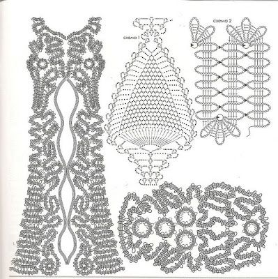 Fantastic Freeform with Brugge Lace ~ crochet diagrams