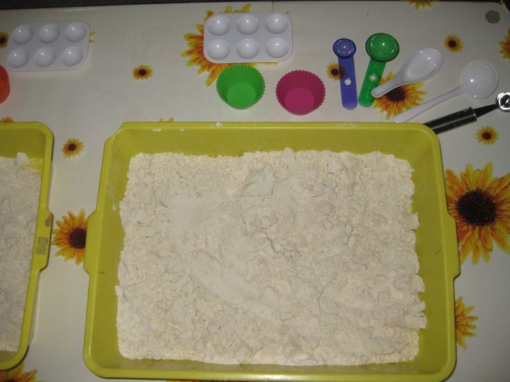Cloud Dough - 8 cups all purpose flour + 1 cup vegetable oil - I ended up using about 1 1/4 cups vegetable oil.  Store in the refrigerator to keep fresh.  Start with a small batch of 2 cups flour + 4-6 Tbsp vegetable oil.