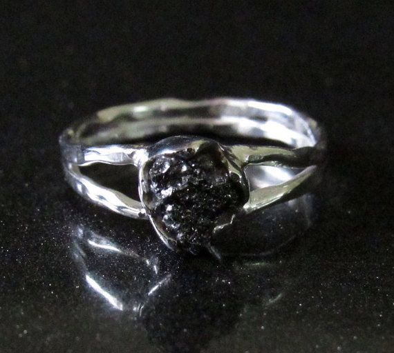 Black Raw Diamond Engagement Ring Solitaire Uncut by Nichejewelry
