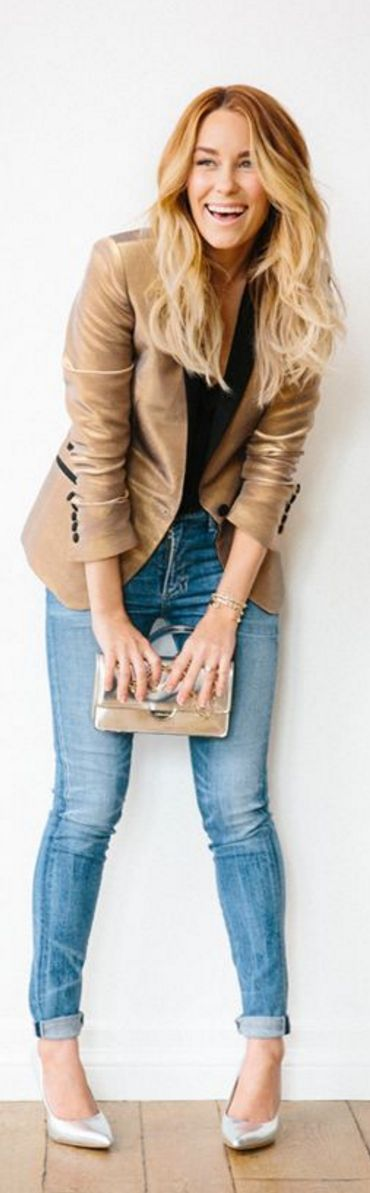 Lauren Conrad: Jeans – Citizens of Humanity Jacket – Zadig & Voltaire Shirt – L'Agence Purse – LT Bennett Shoes – Vince Camuto Jewelry – Dana Rebecca Lipstick – Tom Ford's Spanish Pink